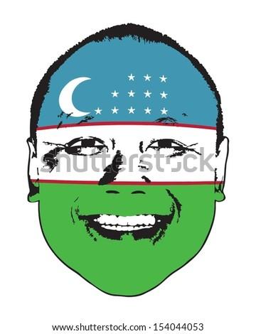 A Uzbekistan flag on a face, isolated against white.  - stock vector