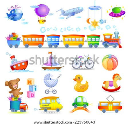 A variety of children's toys  - stock vector