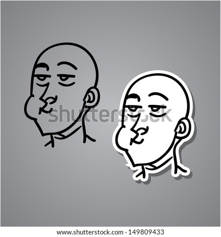 A variety of hand-drawn male faces - chewing - stock vector