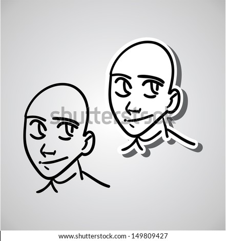 A variety of hand-drawn male faces - happy and rueful - stock vector