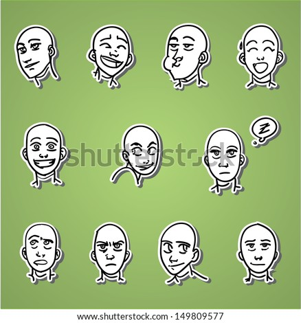 A variety of hand-drawn male faces - positive - stock vector