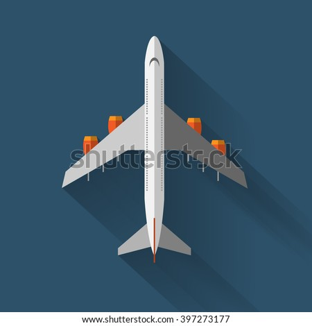 A vector airplane top view. Vector illustration. - stock vector