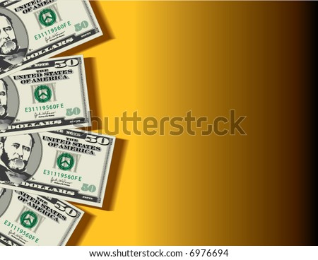 A vector background showing four fifty dollar bills with space for text - stock vector