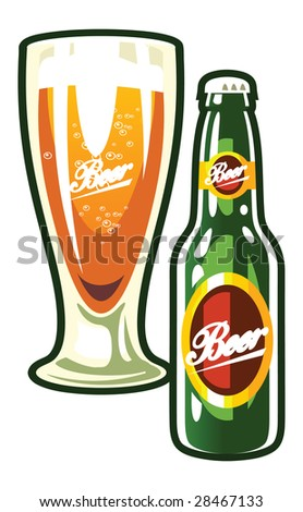 A vector bottle and a glass of beer - stock vector