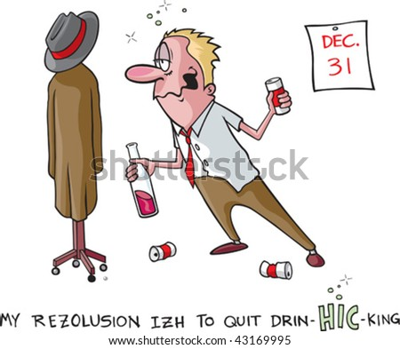 A vector cartoon of a heavy drinker and his New Years resolution to quit. Man, coat rack, cans and calender are all on separate layers. - stock vector