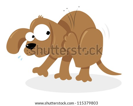 a vector cartoon representing a cute dog having troubles with some fleas - stock vector