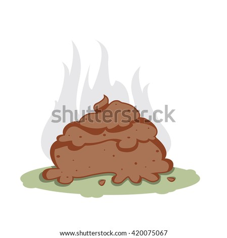a vector cartoon representing a funny poo, brown color, on a white background - stock vector