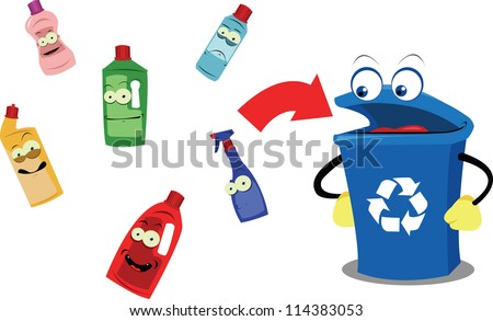 A vector cartoon representing a funny recycling bin and some plastic containers, every object is singly grouped - stock vector