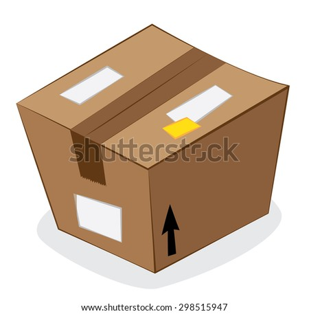 a vector cartoon representing a funny stylized brown carton package isolated on white, on a gray shadow - stock vector