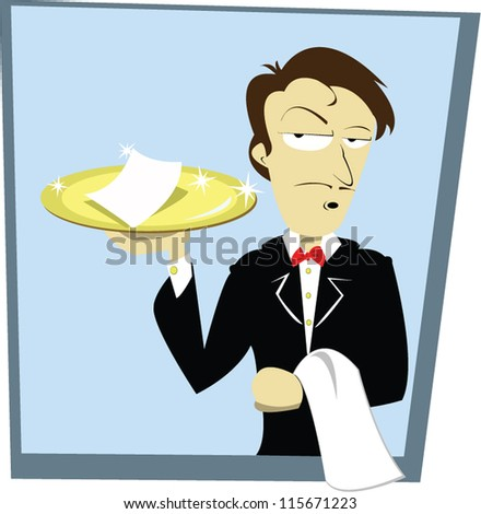 a vector cartoon representing a funny waiter holding a golden tray with a check on it - stock vector