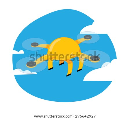 a vector cartoon representing a funny yellow drone flying on a blue cloudy sky background - stock vector