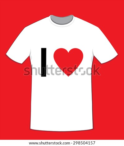 """a vector cartoon representing a white cotton t-shirt on a red background, """"I love"""" text on front side and copy space to customize your own message. - stock vector"""