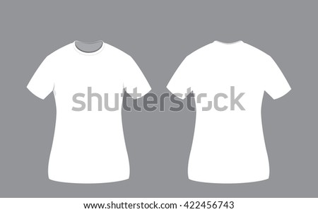 a vector cartoon representing a white cotton woman t-shirt template on grey background, Front and back sides. Copy space. - stock vector