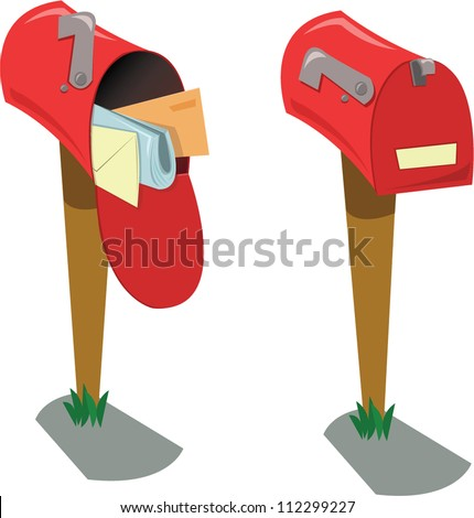 a vector cartoon representing two mailboxes: the first opened with mail, the second one closed and empty - stock vector