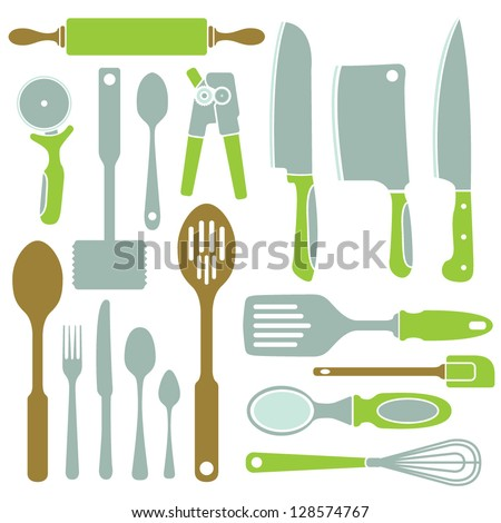 A vector collection of simple kitchen utensil icons. - stock vector