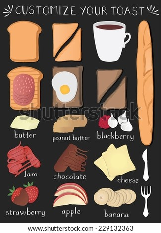 A vector collection of Sliced White / Brown bread toast with jam, egg, etc. Isolated on chalkboard. - stock vector