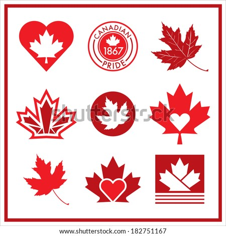 A vector collection of unique Canadian flag icons. - stock vector