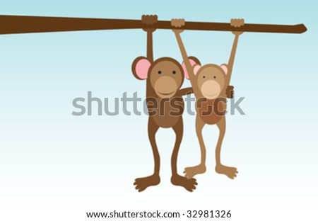 A vector concept illustration of monkeys in love hanging from a tree - stock vector