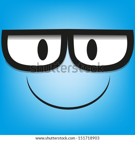 A Vector Cute Cartoon Blue Face With Glasses - stock vector