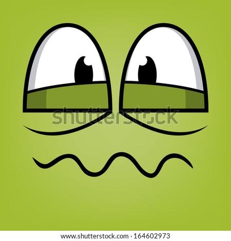 A Vector Cute Cartoon Green Sick Face - stock vector