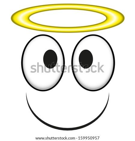 A Vector Cute Cartoon White Angel Face - stock vector