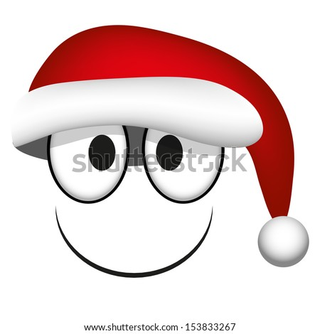 A Vector Cute Cartoon White Face With Santa Claus Hat - stock vector
