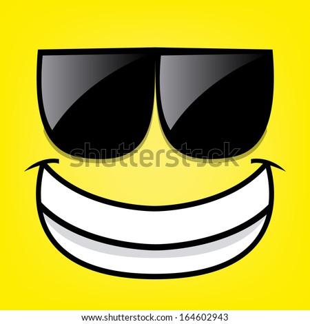 A Vector Cute Cartoon Yellow Face With Sunglasses - stock vector