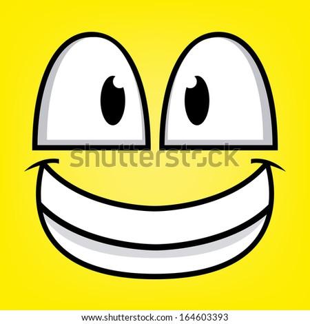 A Vector Cute Cartoon Yellow Happy Face - stock vector