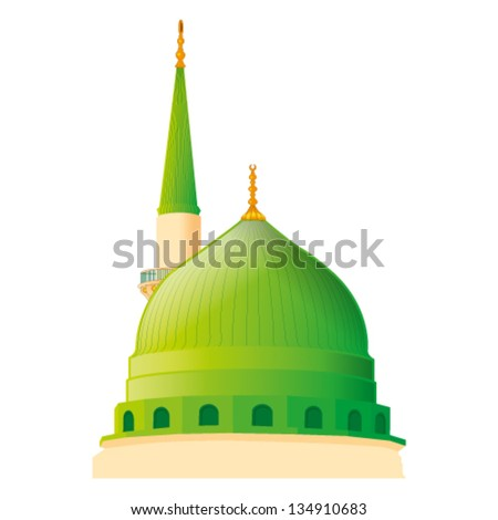 a vector draw of Masjid Nabawi in madina - stock vector