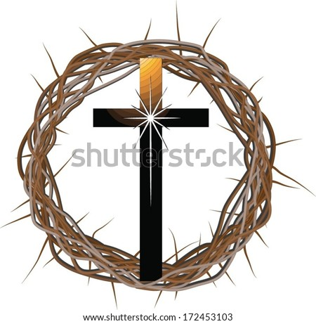 A vector drawing of a crown made of thorns with a cross in front of it. - stock vector
