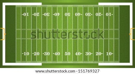 A vector grass textured American football field. EPS 10. File contains transparencies. - stock vector