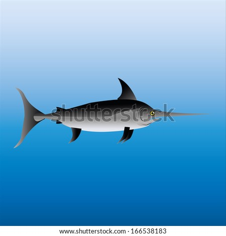 A Vector Gray Swordfish Isolated With Background - stock vector