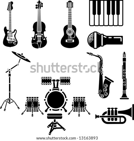 A vector icon set of musical instrument simple outline silhouettes - stock vector