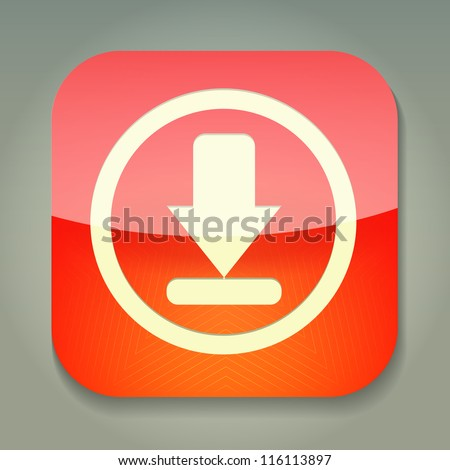 a vector icon with download sign inside - stock vector