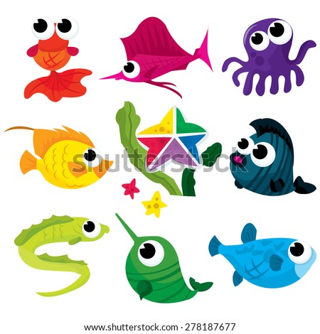 A vector illustration collection of colorful cute underwater creatures. - stock vector