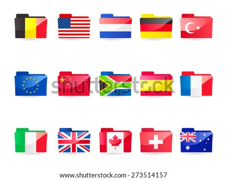 A vector illustration collection of 15 flag folders:- Belgium,  European Union, Italy, USA, China, UK, Netherlands, South Africa, Canada, Germany, Spain, Switzerland, France, Turkey and Australia - stock vector