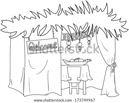 A Vector illustration coloring page of a Sukkah decorated with ornaments for the Jewish Holiday Sukkot.  - stock vector