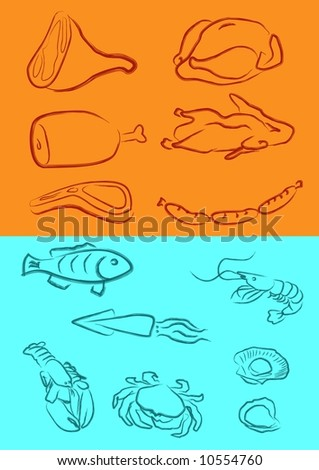 a vector illustration for a variety of meats in artistic outline - stock vector