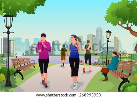 A vector illustration healthy women running in a park - stock vector