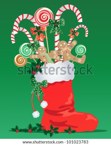 a vector illustration in eps 10 format of a red christmas stocking with white trim full of festive candy with ribbon and holly on a green background - stock vector