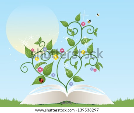 a vector illustration in eps 10 format of an open gardening book with foliage flowers and insects coming from the pages under a summer sun - stock vector