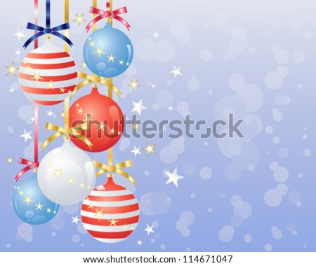 a vector illustration in eps 10 format of metallic baubles decorated in the colors of the american flag with satin bows stars and abstract snowflake background - stock vector