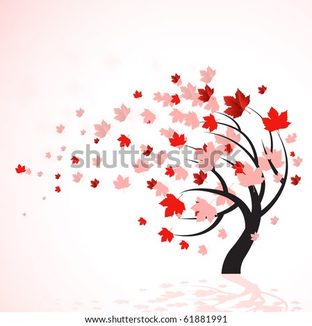 A vector illustration of a autumn tree with red leaves blowing in the wind. - stock vector