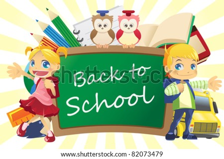 A vector illustration of a back to school background - stock vector
