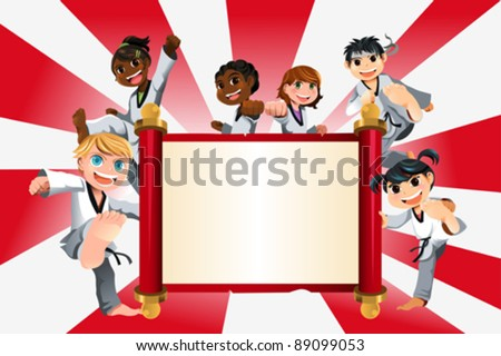 A vector illustration of a banner with kids practicing karate - stock vector