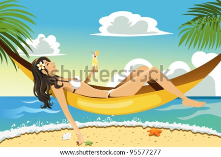 A vector illustration of a beautiful woman relaxing on a hammock on the beach - stock vector