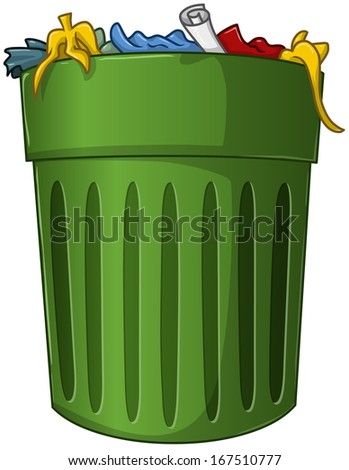 A vector illustration of a big green trash can with trash inside.  - stock vector