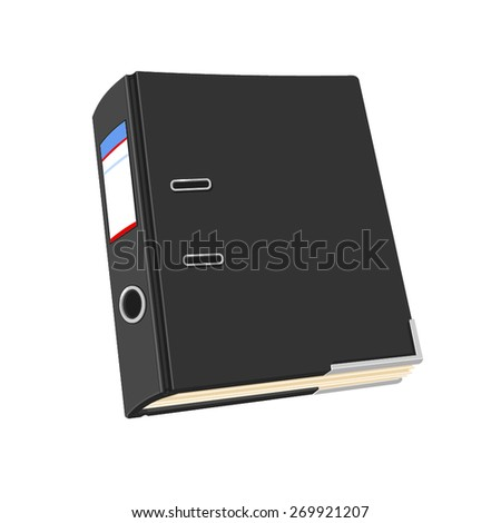 A vector illustration of a black ring binder folder. Ring Binder Folder. Folder containing paperwork and documentation. - stock vector