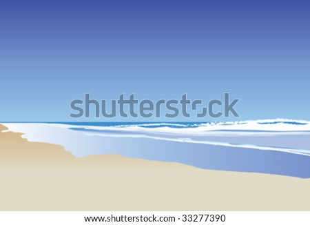 A vector illustration of a blue ocean and rolling waves - stock vector