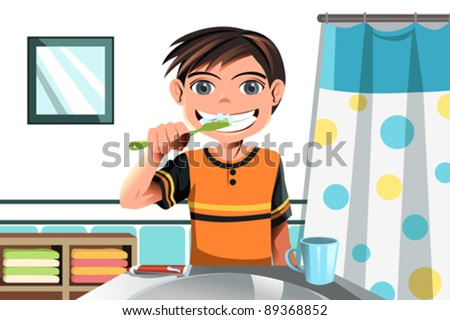 A vector illustration of a boy brushing his teeth - stock vector